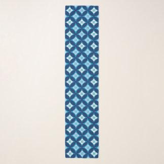 Foulard Shippo avec le motif de fleur, le bleu d'indigo et