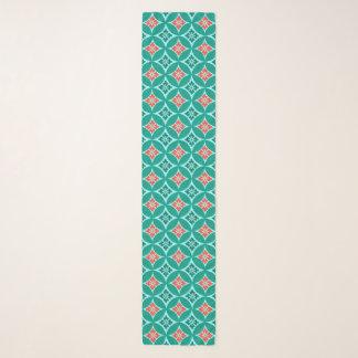 Foulard Shippo avec le motif, la turquoise et le corail de