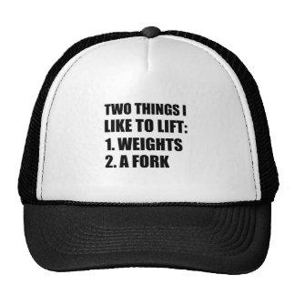 Fourchette de deux de choses poids d'ascenseur casquette de camionneur