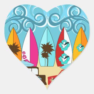 Fourgons hippies surfants sans valeur de plage de autocollants en cœur