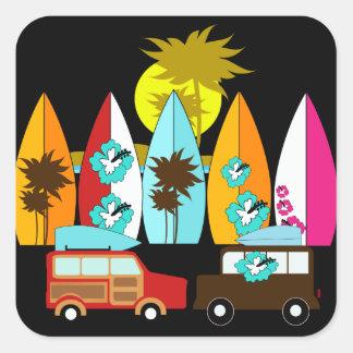 Fourgons surfants sans valeur de hippie de surfer stickers carrés