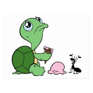 Fourmi heureuse de tortue triste carte postale