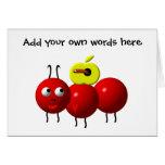 Fourmi mignonne avec la pomme cartes
