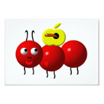 Fourmi mignonne avec la pomme carton d'invitation 8,89 cm x 12,70 cm