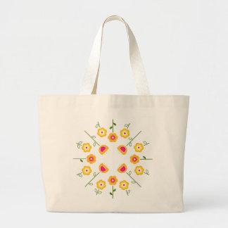 Fourre-tout enorme avec les fleurs jaunes grand sac