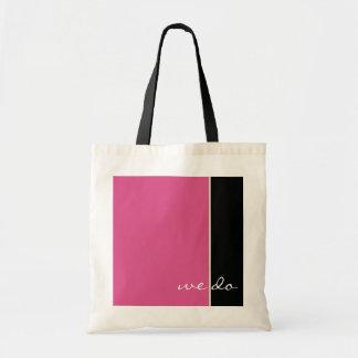Fourre-tout l'épousant rose et noir sac en toile