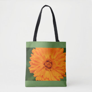 Fourre-tout orange et vert de fleur sauvage tote bag