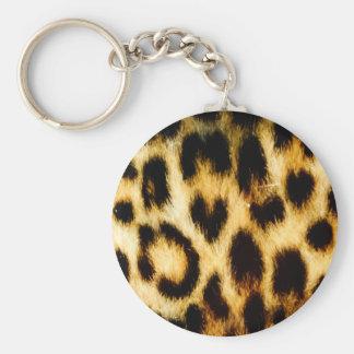 Fourrure de léopard porte-clé rond