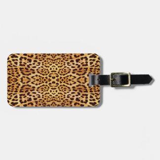 Fourrure élégante d'empreinte de léopard étiquette de bagages