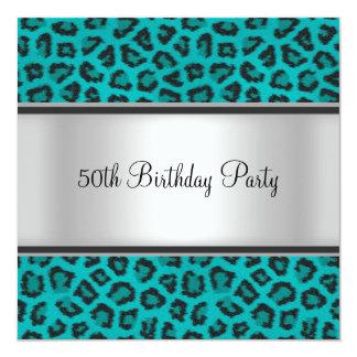 Fourrure Teal de léopard de fête d'anniversaire Carton D'invitation 13,33 Cm