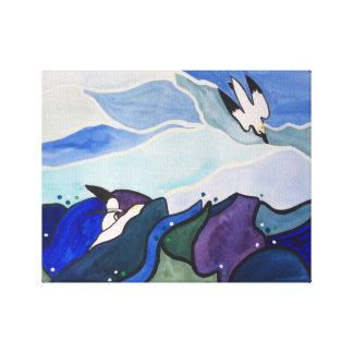 Fous de Bassan de plongée peignant l'art de mur Toiles