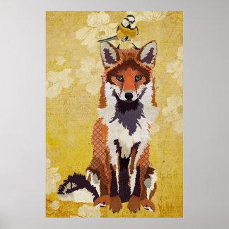 Fox ambre et petite affiche d'art d'oiseau