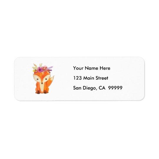 Fox avec la couronne de fleur étiquettes d'adresse retour