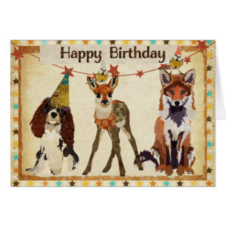 Fox chien faon et petite carte d anniversaire
