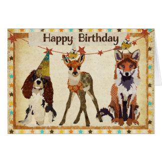 Fox, chien, faon, et petite carte d'anniversaire