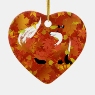 Fox dans la forêt ornement cœur en céramique