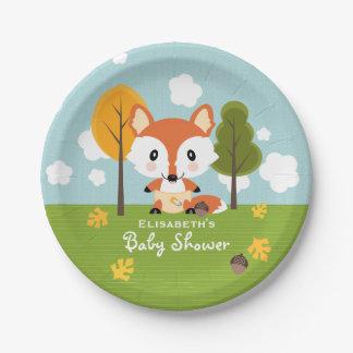 Fox dans le baby shower de couches-culottes assiettes en papier