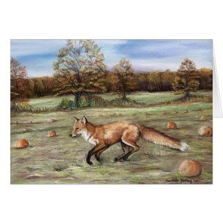 Fox dans une carte de voeux d'art de correction de