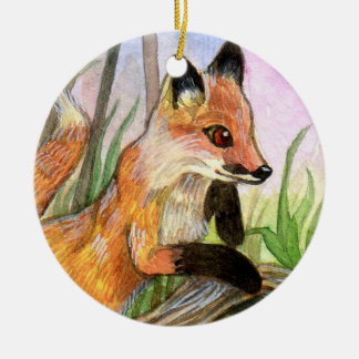 Fox de bébé ornement rond en céramique