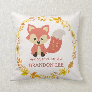Fox de crèche de forêt de région boisée du bébé | coussin décoratif