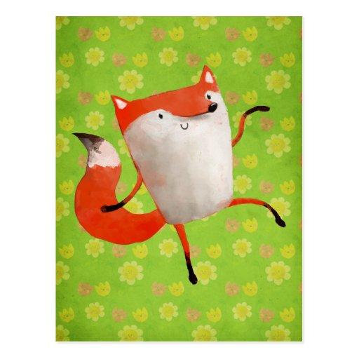 Fox de danse heureux cartes postales