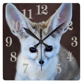 Fox de Fennec Horloge Carrée
