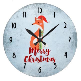 Fox de Joyeux Noël dans le casquette de Père Noël Grande Horloge Ronde