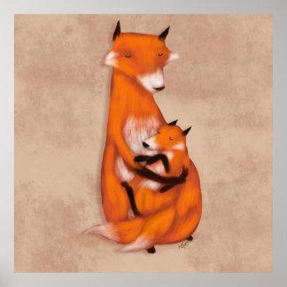 Fox de mamans et bébé posters