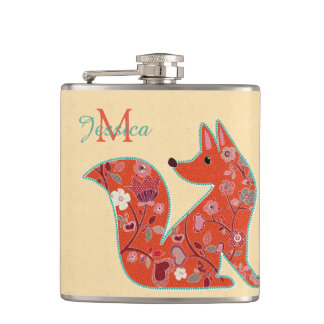 Fox de motif de fleur d'art populaire flasques