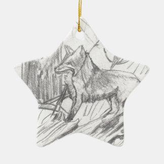 Fox dessinant Eliana Ornement Étoile En Céramique