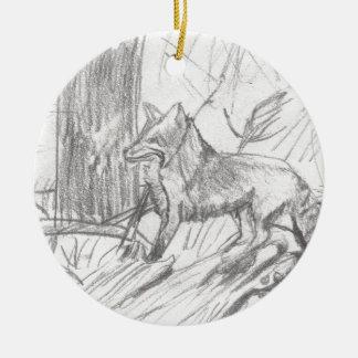Fox dessinant Eliana Ornement Rond En Céramique