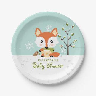 Fox d'hiver dans le baby shower de assiettes en papier