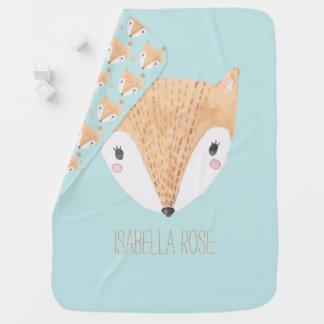 Fox doux de bébé d'aquarelle couverture de bébé