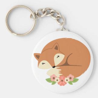 Fox en fleurs porte-clé rond