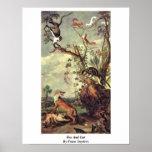Fox et chat par Frans Snyders Poster