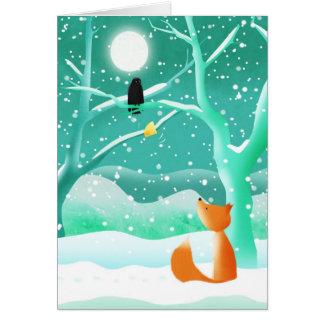 Fox et corneille - cartes de voeux