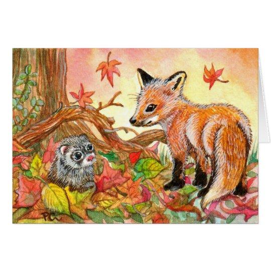 Fox et furet dans le feuille d'automne cartes de vœux
