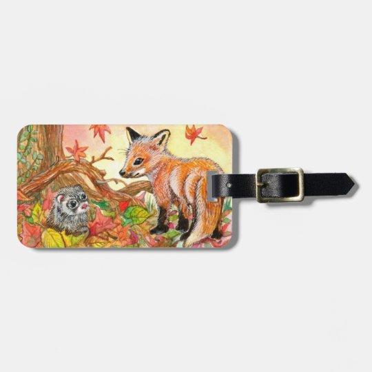 Fox et furet dans le feuille d'automne étiquette à bagage