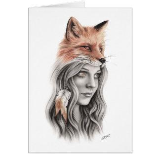 Fox et la carte de voeux spirituelle de fille