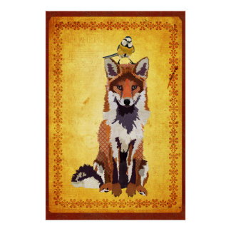 Fox et petite affiche d'art d'oiseau