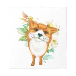 Fox et roses bloc-note