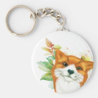 Fox et roses porte-clé rond