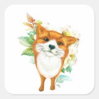 Fox et roses sticker carré