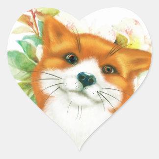 Fox et roses sticker cœur