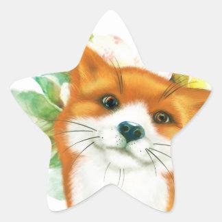 Fox et roses sticker étoile