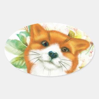 Fox et roses sticker ovale