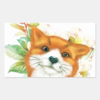 Fox et roses sticker rectangulaire