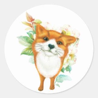 Fox et roses sticker rond