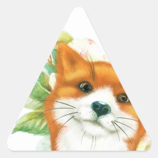 Fox et roses sticker triangulaire