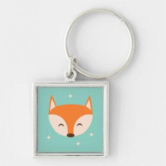 Fox gai porte-clé carré argenté